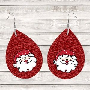 Santa Red Leather Look Teardrop Earrings